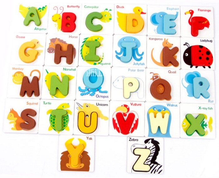 Birtish card mainan edukatif anak chunky puzzle huruf alphabet me-061