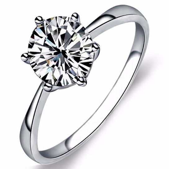 Zircon Six Claw Ring 9 / Cincin Berlian - White EY4O