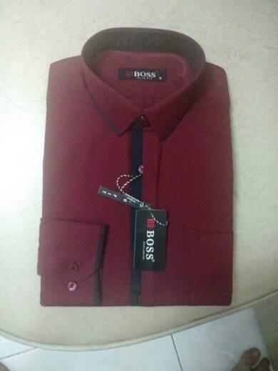 harga Kemeja boss maroon kombinasi lis hitam slim fit panjang Tokopedia.com