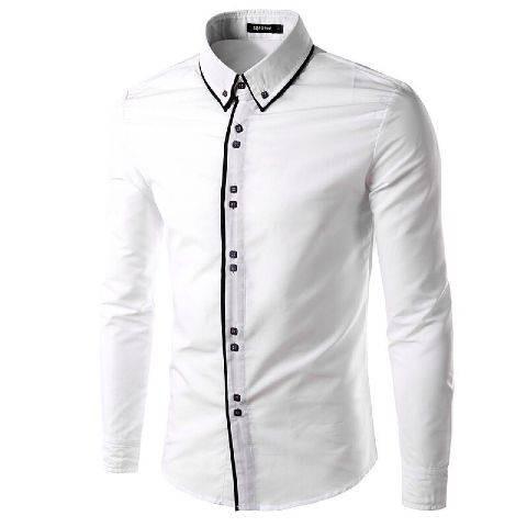 harga Baju Kemeja Pria Lengan Panjang Garis Hitam Slimfit / Hem Putih 2 Line Tokopedia.com