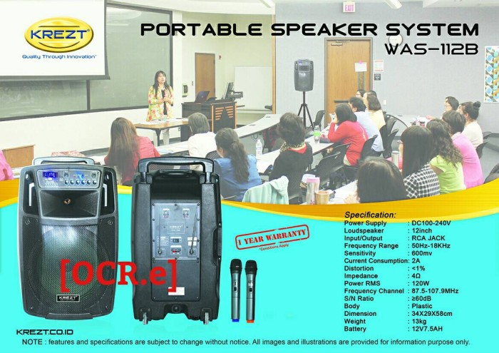 harga Krezt portable speaker system was-112b bluetooth (12 inch) Tokopedia.com