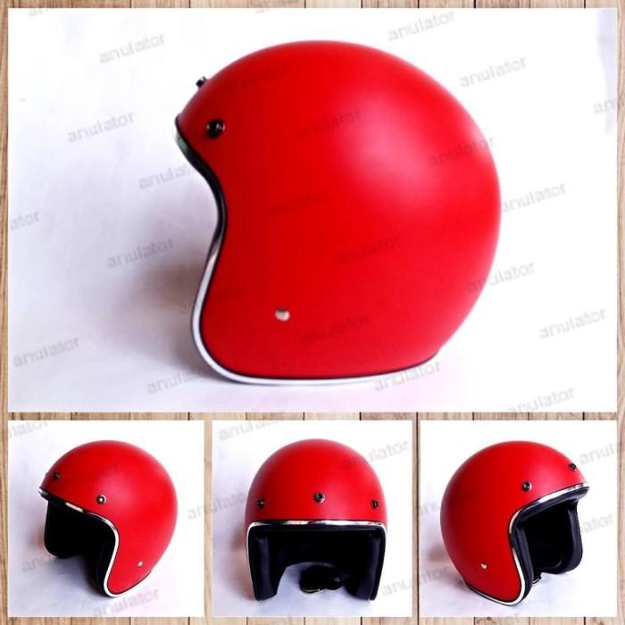 harga Helm half face/cafe racer/japstyle/retro/bogo merah doof dop Tokopedia.com