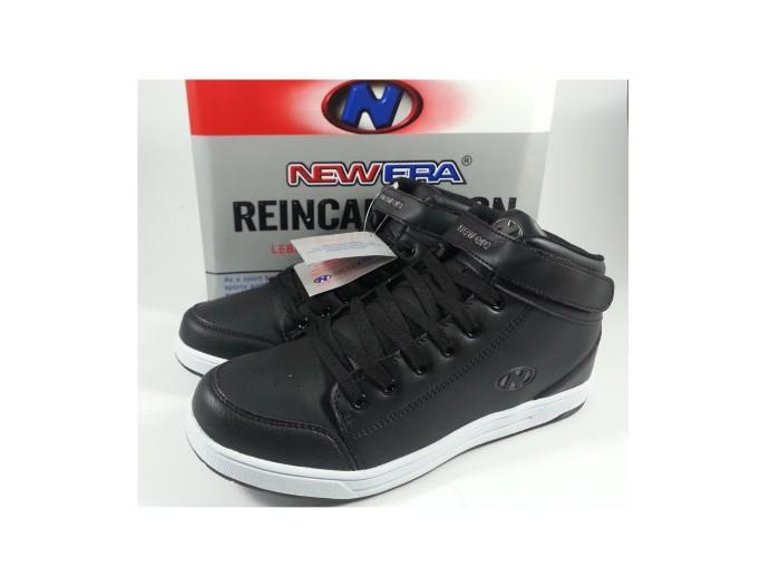 Sepatu semi boot/boots, sepatu casual, new era luxio black white