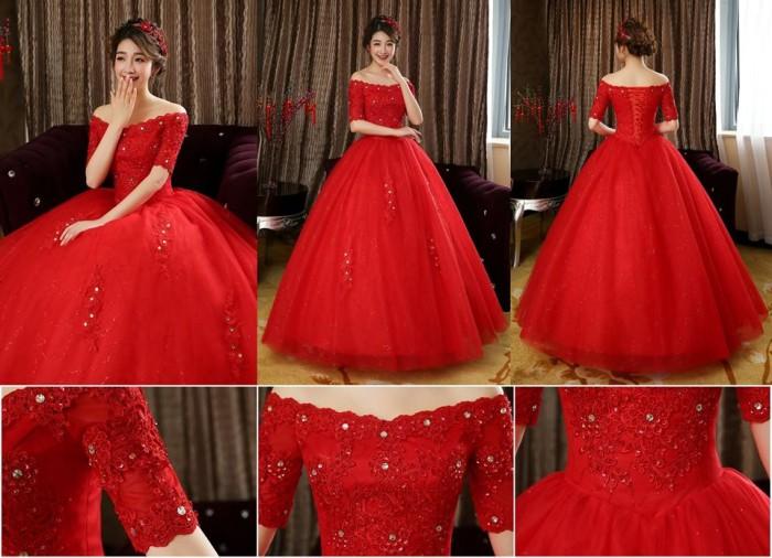 Jual Wedding Dress Gaun Pengantin Import Lengan Sabrina Terbaru
