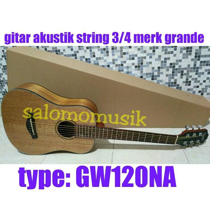 harga Gitar akustik string 3/4 merk grande brown  gold natural gw120na Tokopedia.com