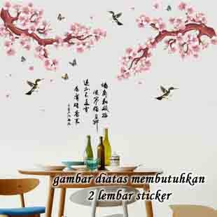 jual wallsticker/wall sticker 60x90-am9141- pink sakura n swallow