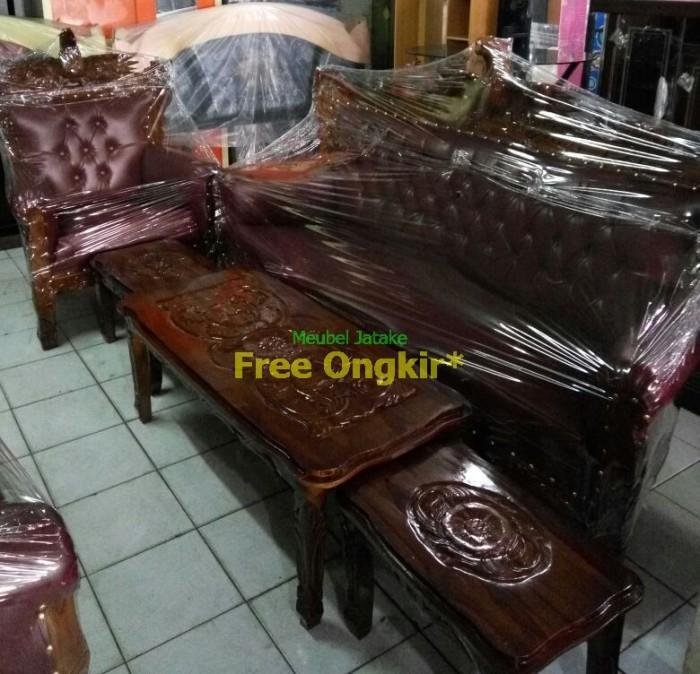 Kursi Tamu Jati Romawi Garuda 3111 Meja Besar Kecil 2 Sofa Jepara