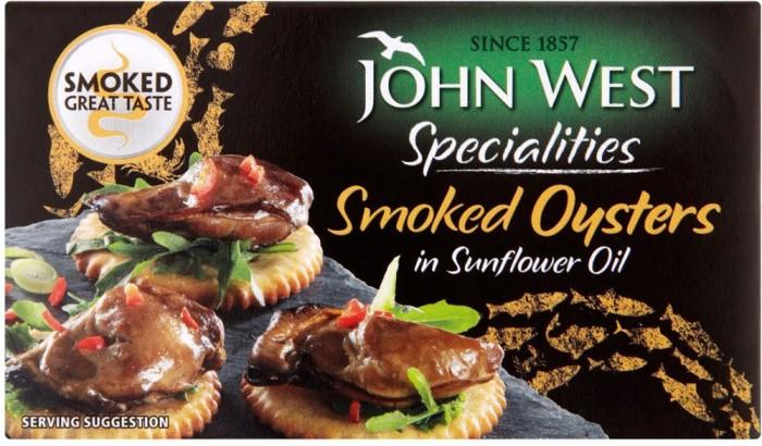 John West Smoked Oyster in Sunflower Oil Daging Olahan Kaleng Kerang