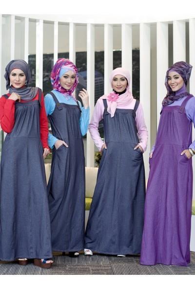 Foto Produk Gamis Kaos Kombinasi Soft Denim Ukhti U 130 Ungu size L dari Inara Busana Muslim