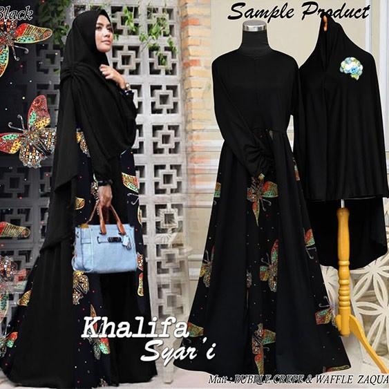 Baju Muslim Gamis Khalifah Syari Hitam