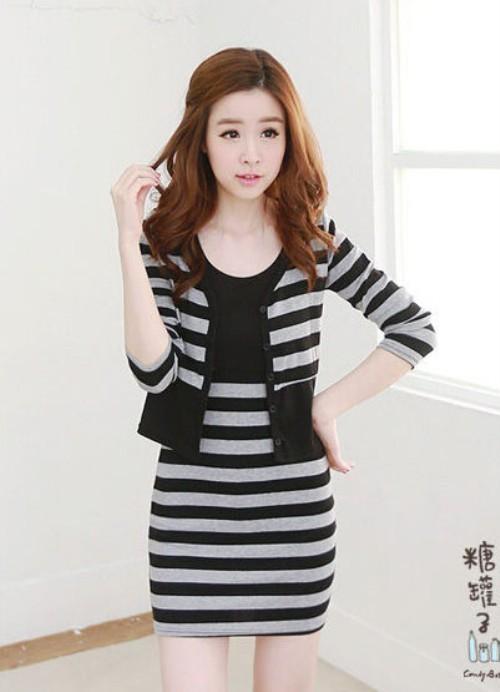Foto Produk HQ 7499 Striped 2pcs Dress (GREY) dari LCK Shop