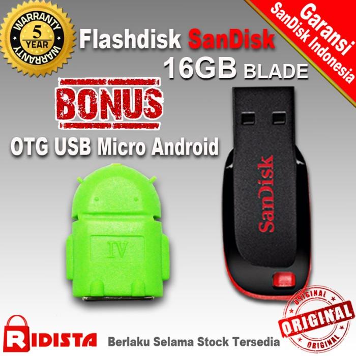 harga Flashdisk sandisk 16gb blade (w240)+bonus otg usb micro android (j373) Tokopedia.com