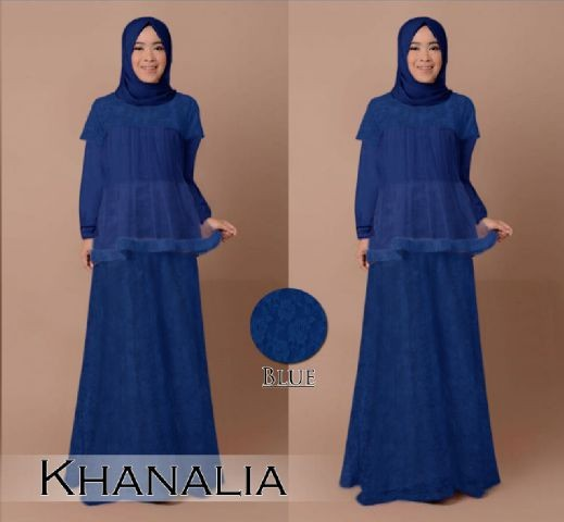 Jual Busana Muslim Pesta Khanalia B030 Brokat Gamis Modern Baju