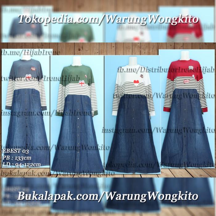 Foto Produk EBEST 03 MAXI GAMIS DRESS DENIM FASHION WANITA SYAR'I MUSLIMAH ADEM dari Warung Wongkito