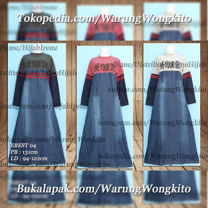 Foto Produk EBEST 04 MAXI GAMIS DRESS DENIM FASHION WANITA SYAR'I MUSLIMAH ADEM dari Warung Wongkito