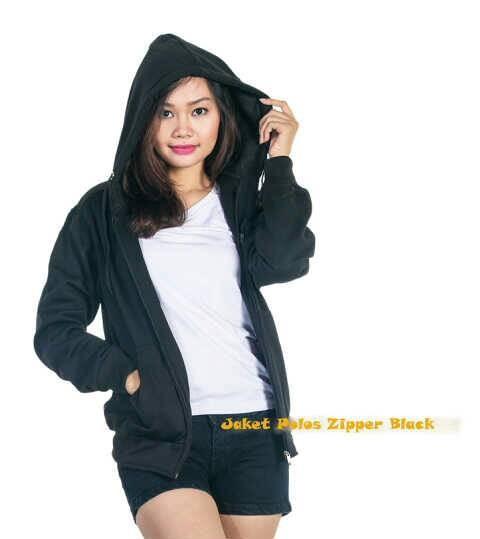 harga Jaket sweater hoodie jaket zipper polos polosan cewek wanita - hitam Tokopedia.com