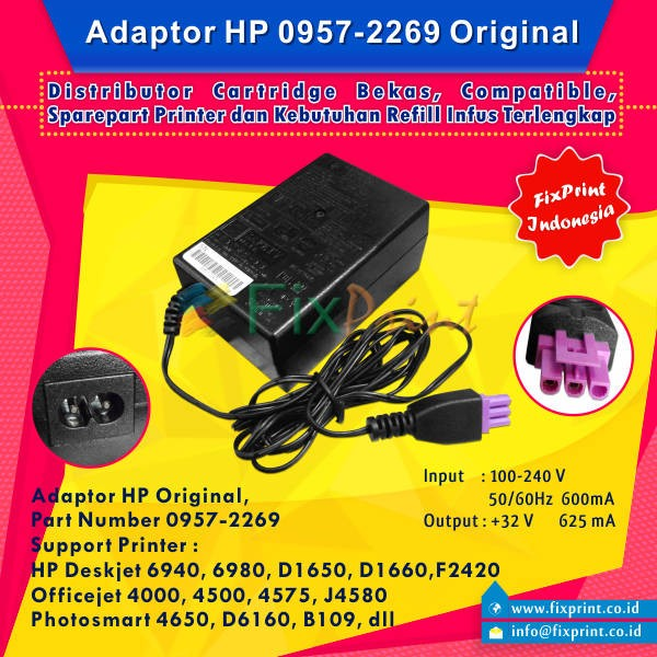 HP Photosmart C5100 C6100 printer power supply cord cable ac adapter charger
