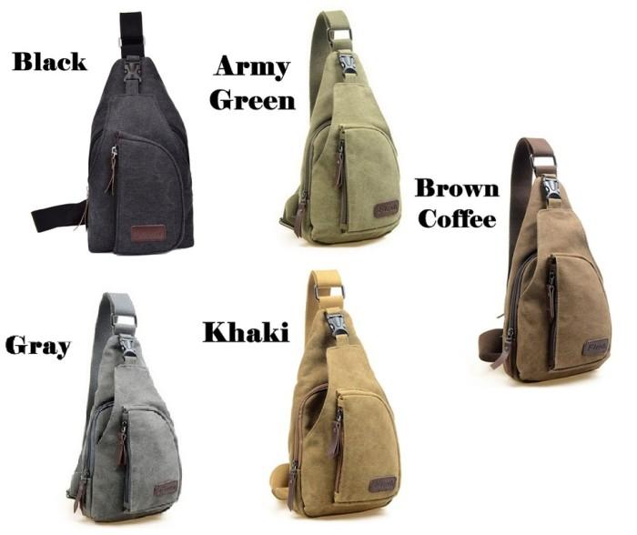Bodypack Bag Tas Selempang Pria Bahan Jeans | Men Sling Shoulder Bags - Cokelat