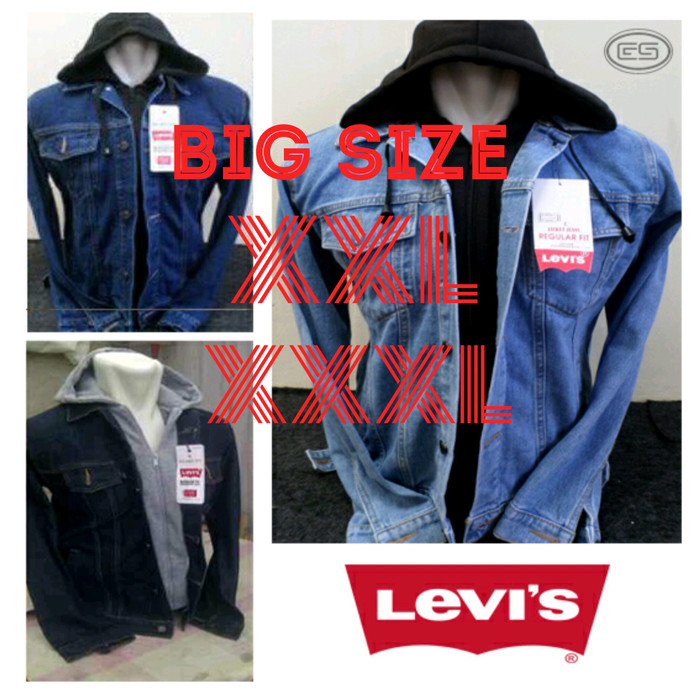 Foto Produk Jaket Jeans Levis Hoodie Big Size | xxl xxxl | Ariel OUUB dari Jaket Kulit Pria Asli