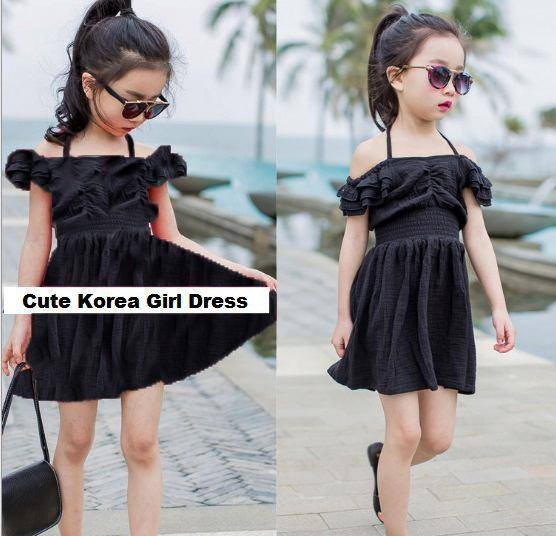 DRS 0328 Baju Anak Import Sabrina Girl Dress Simple Elegant Black,