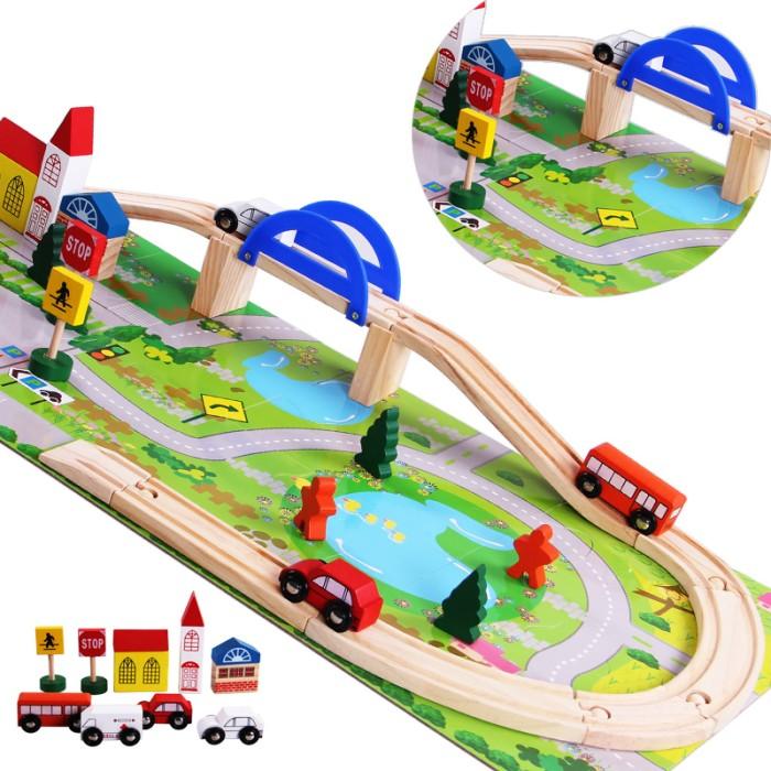Foto Produk Mainan Kayu Edukatif Anak Peta Kota Rail Overpass Mobil Jalur ME076 dari Clicks N Shop