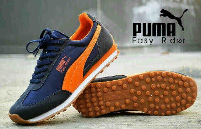 harga Sepatu pria casual sport running murah puma easy rider navy orange Tokopedia.com