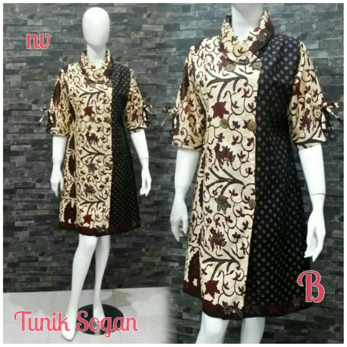 Jual batik wanita  tunik sogan  baju batik kantor  Seragam Batik ... 8393687d8b