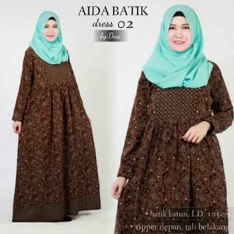 Jual Dn1 Aida Batik Gamis Muslim Dress Wanita Hamil Busui