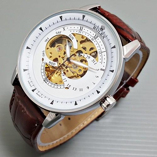 Jual Jam Tangan Pria   Cowok Rolex Kulit Skeleton 3 Eye Automatic ... 0969ad1ec3