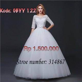 wedding gown berlengan cocok berhijab gaun/baju pengantin baru import