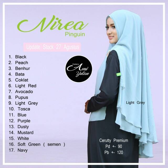 harga Nirea Khimar Jilbab Hijab Bergo Non Pet Syari Cerutty Ceruti Double Tokopedia.com