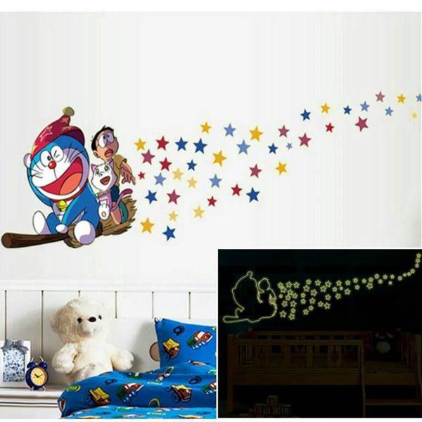 jual wallsticker glow in the dark / gid abq9623 doraemon - warung ws