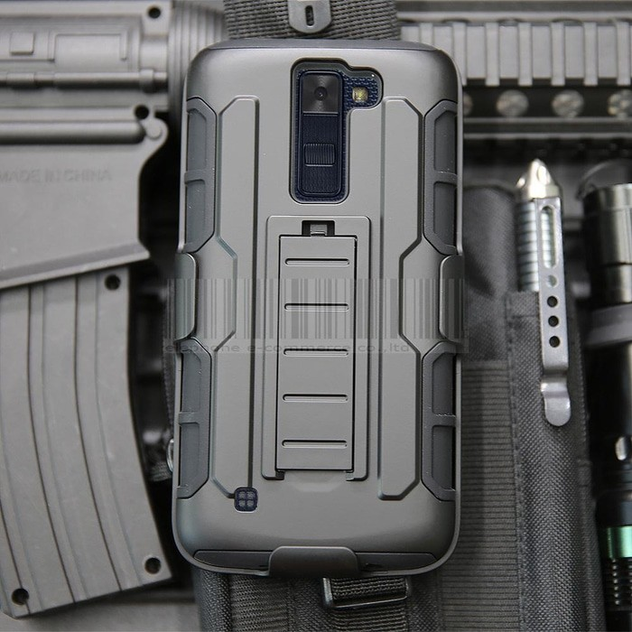 LG K7 Future Armor Hard Soft Cover Casing Case with Belt Clip Holster