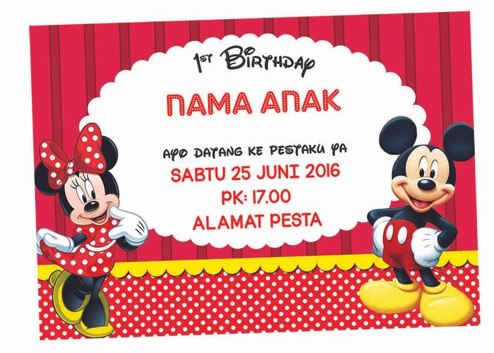 Jual Kartu Undangan Ulang Tahun Disney Mickey Mouse Minnie Mouse