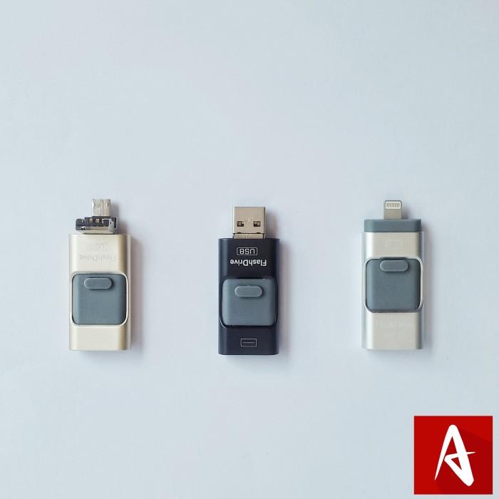 harga Flash disk drive flashdisk flashdrive usb 3 in 1 apple android pc 64gb Tokopedia.com