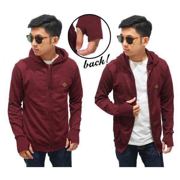 harga Knit hoodie fingerless maroon / jaket maroon cowok / jaket hoodie Tokopedia.com