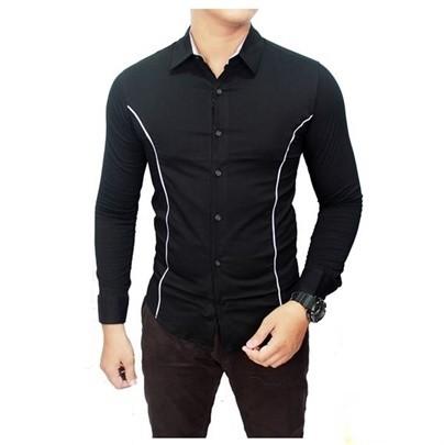 harga Bajau kemeja cowok pria kerja formal slim fit list putih warna hitam Tokopedia.com