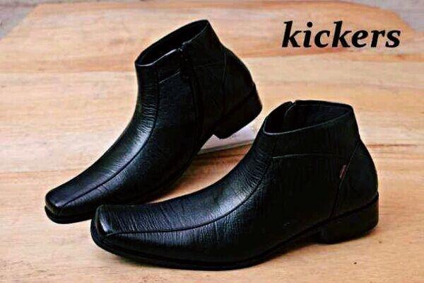 kickers boot pantofel zipper sleting kulit asli leather hitam tan