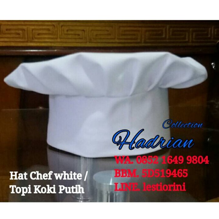Jual Topi koki putih  hat chef white - hardian collection  65c9308c82