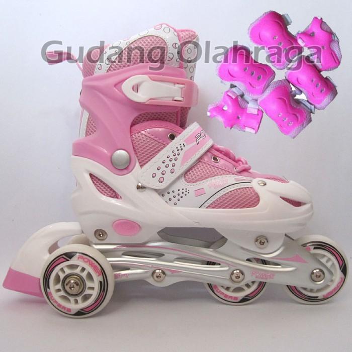 Jual Sepatu Roda BAJAJ Pink + Deker   Pelindung Inline Skate Satu ... 057e1b823d