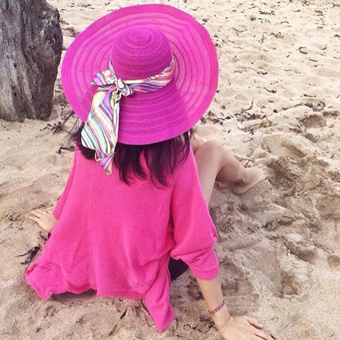 Topi pantai floppy hat import bahan nylon lebar warna warni 90be9d8f50