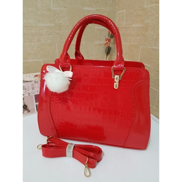 harga Tas wanita import j19439 red kulit buaya pom pom glossy korea kerja Tokopedia.com