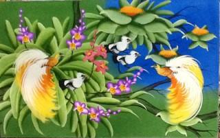 harga Lukisan sepasang burung cendrawasih burung surga / kayangan  135x85 a Tokopedia.com