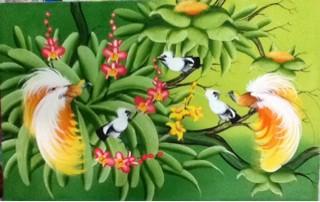 harga Lukisan sepasang burung cendrawasih burung surga / kayangan  135x85 c Tokopedia.com