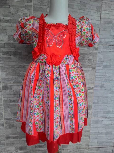 baju anak perempuan gaun pesta bayi Dress Merry Bella Flower Orange