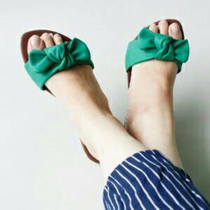 sandal flat pita hijau / sandal teplek wanita / sandal flat wanita