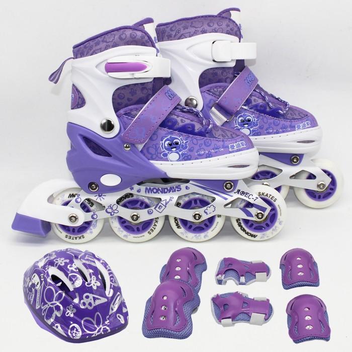 Ruibao Sepatu Roda(8 Ban Full Flash+Deker/Pelindung Inline Skate 1SET