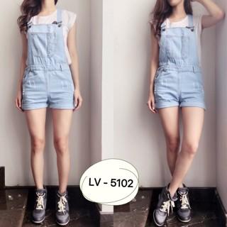 Overall short ripped jeans lv 5102/ overall jeans pendek