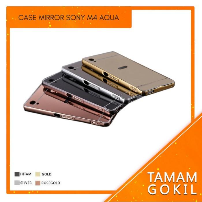 Case Mirror Sony Xperia M4 Aqua Alumunium Metal Bumper