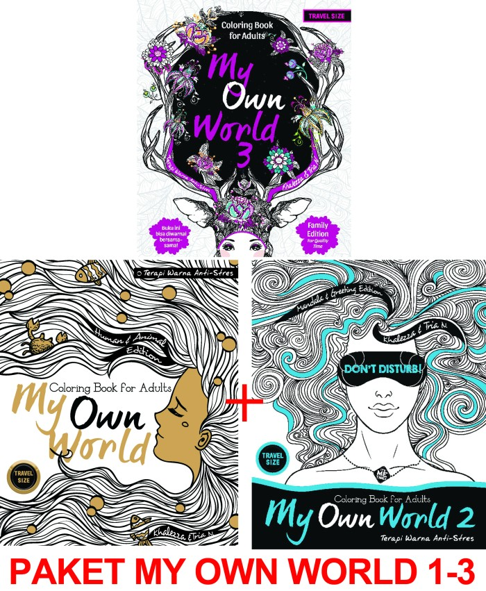 Paket My Own World Coloring Book For Adults Travel Size 1 3